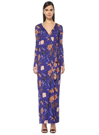 Diane Von Furstenberg V Yaka Çiçekli Uzun Elbise Renkli